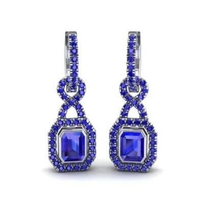 Twist Emerald-Cut Halo Blue Sapphire Drop Earrings (0.95 Carat)