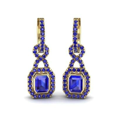 Twist Emerald-Cut Halo Blue Sapphire Drop Earrings (0.95 Carat)
