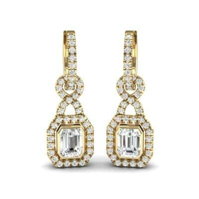 Twist Emerald-Cut Halo Diamond Drop Earrings (0.95 Carat)