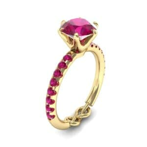 Infinity Six-Prong Pave Ruby Engagement Ring (0.83 Carat)