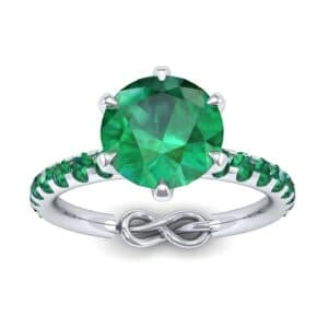 Infinity Six-Prong Pave Emerald Engagement Ring (0.83 Carat)