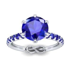 Infinity Six-Prong Pave Blue Sapphire Engagement Ring (0.83 Carat)