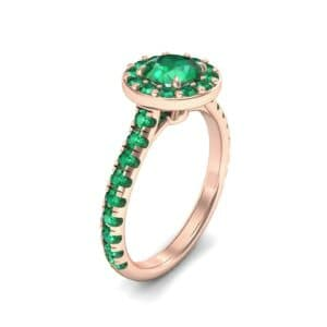 Claw Prong Halo Emerald Engagement Ring (1.24 Carat)