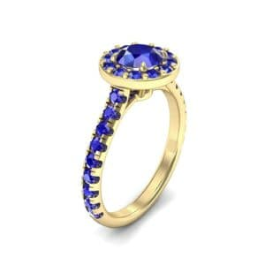 Claw Prong Halo Blue Sapphire Engagement Ring (1.24 Carat)