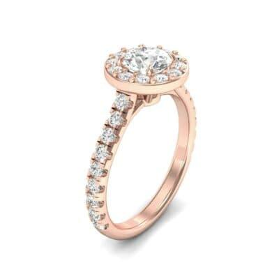 Claw Prong Halo Diamond Engagement Ring (0.95 Carat)
