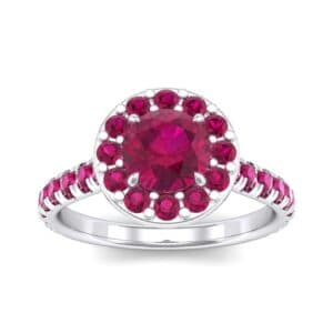 Claw Prong Halo Ruby Engagement Ring (1.24 Carat)