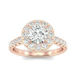 Claw Prong Halo Diamond Engagement Ring (0.95 Carat)