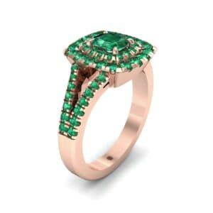Double Halo Split Shank Emerald Engagement Ring (0.96 Carat)