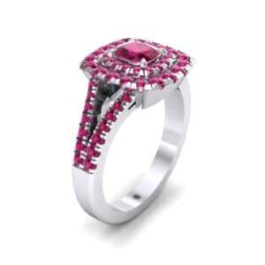 Double Halo Split Shank Ruby Engagement Ring (0.96 Carat)