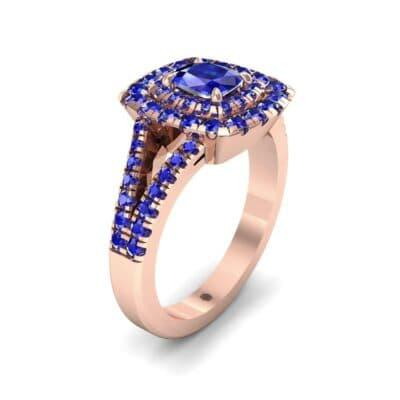 Double Halo Split Shank Blue Sapphire Engagement Ring (0.96 Carat)