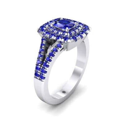 Double Halo Split Shank Blue Sapphire Engagement Ring (0.96 Carat)