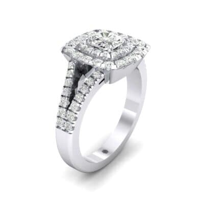 Double Halo Split Shank Diamond Engagement Ring (0.96 Carat)