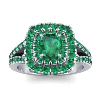 Double Halo Split Shank Emerald Engagement Ring (0.96 Carat)