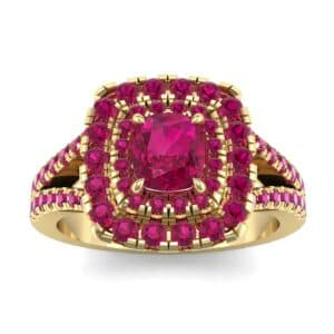 Double Halo Split Shank Ruby Engagement Ring (0.96 Carat)