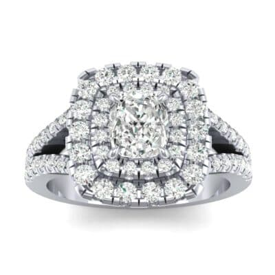 Double Halo Split Shank Diamond Engagement Ring (0.96 Carat)