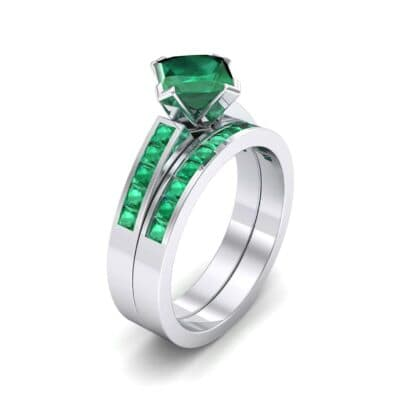 Princess-Cut Compass Point Emerald Engagement Ring