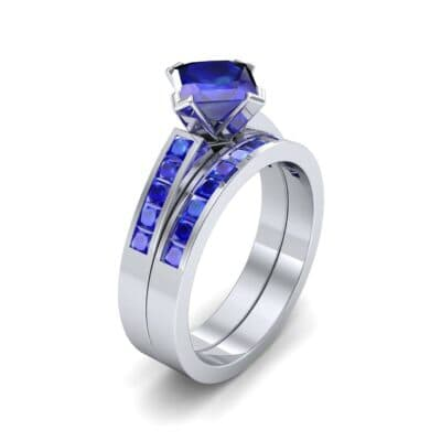 Princess-Cut Compass Point Blue Sapphire Engagement Ring