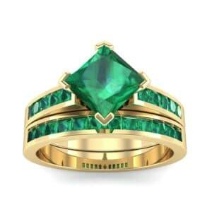 Princess-Cut Compass Point Emerald Engagement Ring