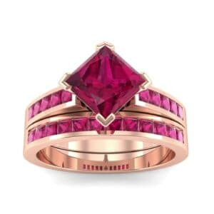 Princess-Cut Compass Point Ruby Engagement Ring
