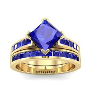 Princess-Cut Compass Point Blue Sapphire Engagement Ring