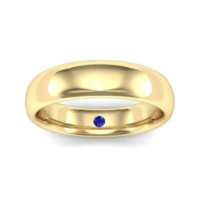 Hidden Solitaire Blue Sapphire Wedding Ring (0.05 Carat)