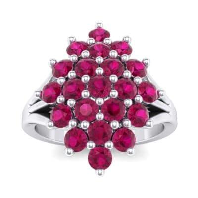 Era Split Shank Ruby Cluster Engagement Ring (1.68 Carat)