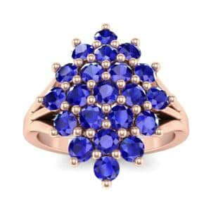 Era Split Shank Blue Sapphire Cluster Engagement Ring (1.68 Carat)