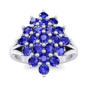 Era Split Shank Blue Sapphire Cluster Engagement Ring (1.68 Carat)