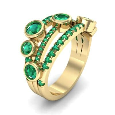 Triple Line Octave Emerald Ring (2.34 CTW) Perspective View
