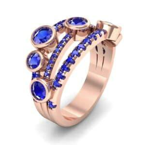 Triple Line Octave Blue Sapphire Ring (1.48 Carat)
