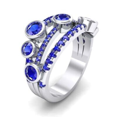 Triple Line Octave Blue Sapphire Ring (2.34 CTW) Perspective View