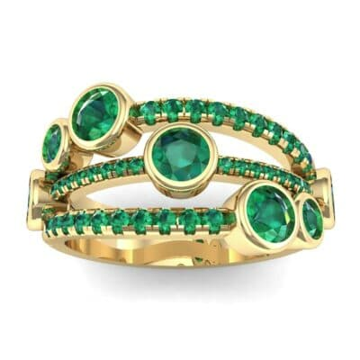 Triple Line Octave Emerald Ring (2.34 CTW) Top Dynamic View