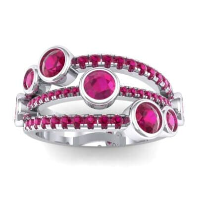 Triple Line Octave Ruby Ring (1.48 Carat)