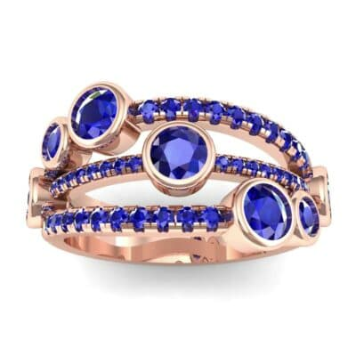 Triple Line Octave Blue Sapphire Ring (2.34 CTW) Top Dynamic View