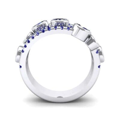 Triple Line Octave Blue Sapphire Ring (2.34 CTW) Side View