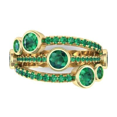 Triple Line Octave Emerald Ring (2.34 CTW) Top Flat View