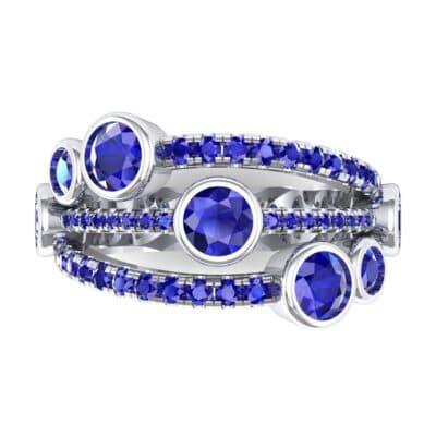 Triple Line Octave Blue Sapphire Ring (2.34 CTW) Top Flat View