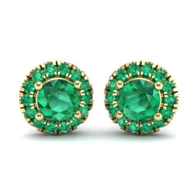 Disc Round Halo Emerald Earrings (1.26 Carat)