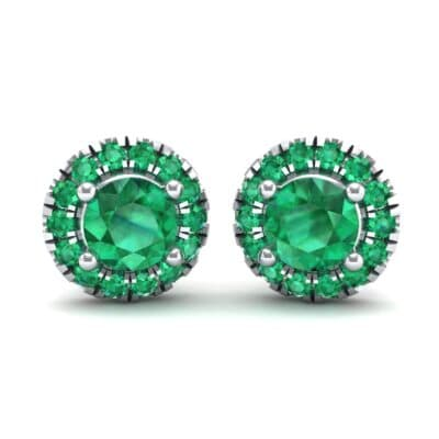 Disc Round Halo Emerald Earrings (1.26 CTW) Perspective View