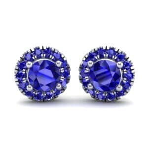 Disc Round Halo Blue Sapphire Earrings (1.26 Carat)