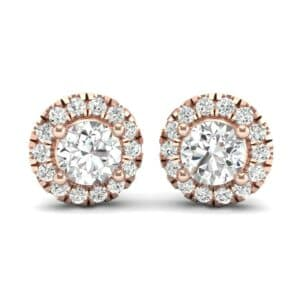 Disc Round Halo Diamond Earrings (1 Carat)