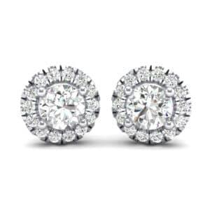 Disc Round Halo Diamond Earrings (1 Carat)