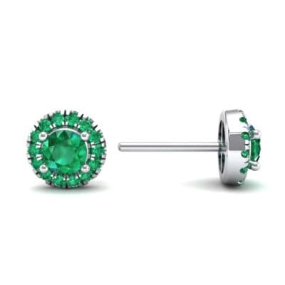 Disc Round Halo Emerald Earrings (1.26 CTW) Top Dynamic View