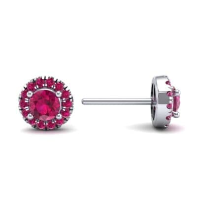 Disc Round Halo Ruby Earrings (1.26 CTW) Top Dynamic View