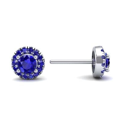 Disc Round Halo Blue Sapphire Earrings (1.26 CTW) Top Dynamic View