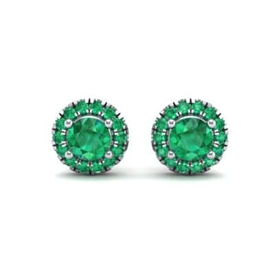 Disc Round Halo Emerald Earrings (1.26 CTW) Side View