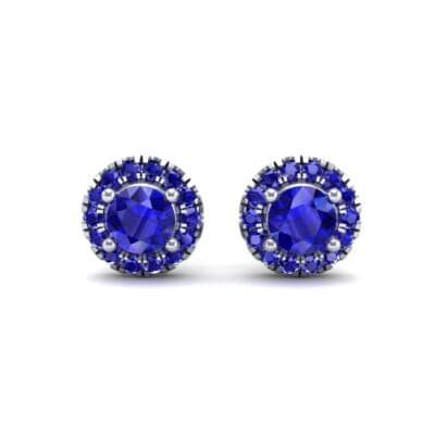 Disc Round Halo Blue Sapphire Earrings (1.26 CTW) Side View
