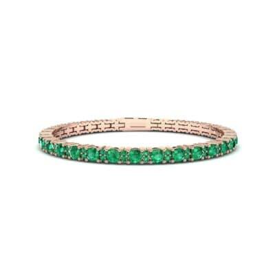 Thin Brilliant Round Emerald Tennis Bracelet (2.1 Carat)