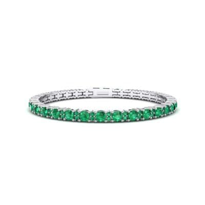 Thin Brilliant Round Emerald Tennis Bracelet (2.1 Carat)