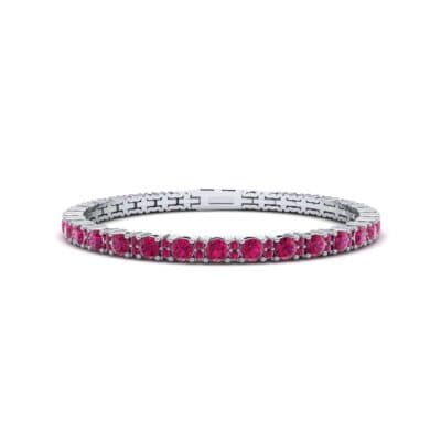 Thin Brilliant Round Ruby Tennis Bracelet (2.1 Carat)